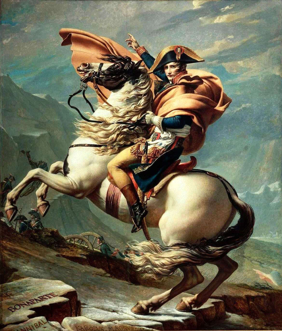 visual analysis jacques louis david s napolean crossing the alps After napoleon's coup in 1799, he commissioned david to commemorate his crossing of the alps: david painted napoleon crossing the saint-bernard (also known as napoleon crossing the alps .